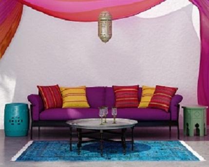 Contemporary bohemian elegant  fresh moroccan living room